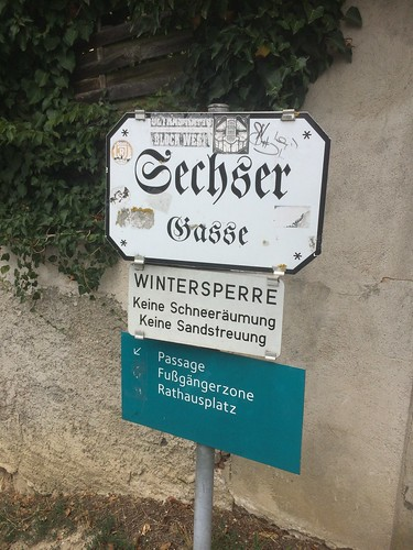 Street sign found upon leaving Stift Melk, heading to the Danube River. We're Here! looking for street signs.