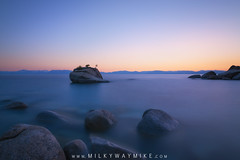 Bonsai Rock (Mike Ver Sprill - Milky Way Mike) Tags: bonsai rock lake tahoe california nevada long exposure smooth water beautiful sunset serene gorgeous twilight civil nikon d800 stacking stack rocks rocky travel tranquil