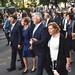 Semjén Zsolt miniszterelnök-helyettes, a KDNP elnöke feleségével, Menus Gabriella Erzsébettel, mellettük Áder János köztársasági elnök feleségével, Herczegh Anitával a Szent Jobb körmeneten