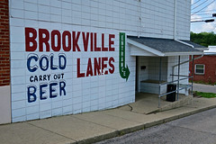 Brookville Lanes, Brookville, IN (Robby Virus) Tags: brookville indiana in lanes bowling sign signage painted arrow cold beer carry out entrance door doorway sports bowl