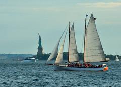 sailboat (greenelent) Tags: statueofliberty newyork nyc water boat sailboat nyharbor 365 photoaday blue