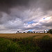 storm coming, dramatic view from Tolquhon Castle across wheat fields of Aberdeenshire, Scotland