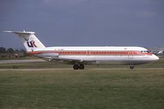 G-AXMU LGW 2-8-1981 (Plane Buddy) Tags: gaxmu bac oneeleven 111 432 airuk bia lgw gatwick