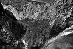 Down the Falls and off into the Valley Beyond... (Black & White) (thor_mark ) Tags: nikond800e day5 triptopasoroblesandyosemite yosemitenationalpark lookingwest capturenx2edited colorefexpro silverefexpro2 blackwhite outside trees hillsideoftrees blueskieswithclouds nature landscape mercedriver river rapids vernalfall waterfalls waterfall mountains mountainsindistance mountainsoffindistance pacificranges sierranevada yosemiterittersierranevada centralyosemitesierra yosemitevalley misttrail morninghiketovernalfall valleybetweenmountains mountainvalley mountainside glacierpoint edgeofwaterfall rainbow project365 california unitedstates