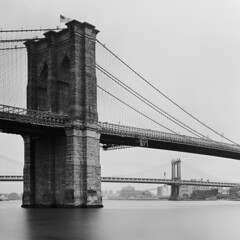 Brooklyn Bridge (Wilmarco Imaging) Tags: d76 analog analogue brooklynbridge nyc newyork cityscape city water eastriver manhattanbridge brooklyn wilmarcoimaging toyo45aii tmax usa blackandwhite primelens fixedfocallength overcast