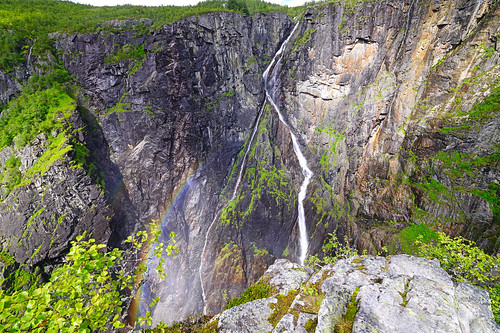 Rainbow beside Vøringfossen waterfall, Norway