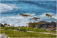 St Ives , Cornwall ... the path ... (miriam ulivi) Tags: miriamulivi nikond7200 england cornwall cornovaglia stives sentiero path mare sea scogliera cliff persone coppia people couple prato verde meadow green blue costa oceano coast ocean
