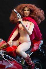 Who's Afraid of the Big Bad Wolf Redux (edwicks_toybox) Tags: 16scale tbleague bikini boots ducati femaleactionfigure girlswithguns littleredridinghood motorcycle phicen redhead