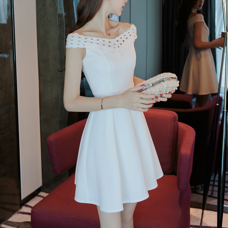 2017 new women's summer dress collar female temperament ladies skirt white one shoulder dress