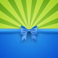Green beam background with blue gift bow and ribbon (ynottri) Tags: christmas shiny holiday celebration isolated present gift bow birthday decoration ribbon blue satin wedding background anniversary festive package white box silk green handmade greeting ornate invitation design border decorative xmas tail color shopping vector paper card space elegant new happy ray beam winter merry poster year summer bright watermelon fun