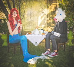 Tea For Two (LornaTaylor) Tags: lornataylor lornataylorphotography taylorimagesca copyright2017lornataylor mermaid mermaidtail unicorn tea tarts creampuffs teapot magic magical fantasy fairytale enchanting conceptual caitlin benjamin teaparty fork girl backdrop texture on1