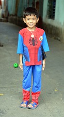 boy in his spiderman outfit and superman sandals (the foreign photographer - ฝรั่งถ่) Tags: jul192015nikon boy spiderman outfit suit costume clothes khlong lat phrao portraits bangkhen bangkok thailand nikon d3200 superman sandals