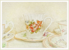 You're only here for a short visit. Don't hurry, don't worry. And be sure to smell the flowers along the way. (Walter Hagen)  ** Explored ** (boeckli) Tags: cup china porzellan tasse tee tea textur textures texturen texture sevenstyles mixedmedia pattern flower flowers blumen blüten blooms blossoms painterly photoborder pastel pastell