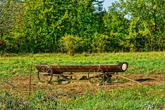 Old Feed Wagon (chumlee10) Tags: wi wisconsin feed wagon old pasture metal farm wheels barbedwirefence fence