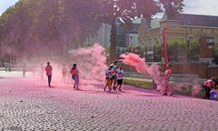The color run - The pink lane (Red Cathedral [FB theRealRedCathedral ]) Tags: sonyalpha a58 eventcoverage alpha sony colorrun sonyslta58 slt evf translucentmirrortechnology spartacusrun mudrun ocr strongmanrun obstaclerun redcathedral urbanart contemporaryart streetphotography belgium alittlebitofcommonsenseisagoodthing gladiatorrun colourrun thecolorrun holi pink pnk roze powder running girlsrunning race brussel brussels bruxelles tour taxis havenlaan miniskirt