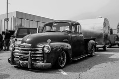 Rat Camping (Shutter Photography & Hot Rod Images) Tags: ratrod truck chevy chevrolet 3100 vintagecamper carshow canon50d outdoor roanokeva bw monochrome blackandwhite antique classic