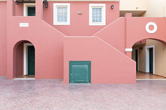 Pink Walls (Number Johnny 5) Tags: lines tamron arch 2470mm corfu beige windows holiday door pattern bland portal mundane sidari angles d750 pink banal building architecture green wall pale passage pastel