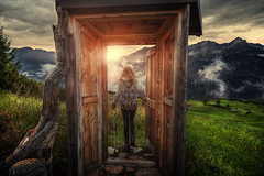 every journey begins with a single step (Chrisnaton) Tags: austria ladis door gate journey nature mountains girl hiking eveningmood eveningsky doorstep foggy passage everyjourneybeginswithasinglestep landscape