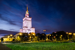Palace of Culture and Science (fernando_gm) Tags: warsaw palace bluehour blue green colour color city ciudad building architecture arquitectura airelibre anochecer dusk longexposure fujifilm fuji 1024mm xt1 varsovia poland polonia artistic