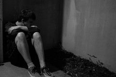 Prison of the Mind (dzmears) Tags: black white prison dark lonely loneliness depression mind 35mm sad expression