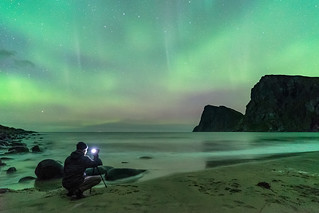 'Jordan's First Aurora' - Kvalvika Beach, Lofoten, Norway