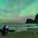 'Jordan's First Aurora' - Kvalvika Beach, Lofoten, Norway thumbnail
