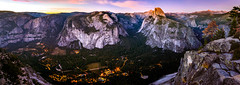 Yosemite Valley at a glance (Gaurav Agrawal @ San Diego) Tags: yosemite national park half dome vernal falls upper lower nevada panorama curry village valley landscape evening hues pink beautiful sunset high resolution