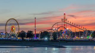 Duesseldorf Funfair (Rheinkirmes) at sunset