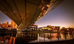Under the Torrens Riverside Bridge (dmunro100) Tags: river bridge lake city adelaide dawn sunrise reflection winter southaustralia torrens cbd footbridge morning