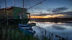 Mosquitos field (.remfer06) Tags: italie italy ravenne ravenna sunset water longexposure boat bateau house net filet carrelet blue hour sony a7 tokina firin 20mm