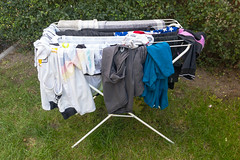 Wäscheständer mit trocknender Wäsche im Garten (marcoverch) Tags: köln nordrheinwestfalen deutschland de wäscheständer trocknende wäsche garten laundry people menschen grass gras outdoors drausen wear tragen adult erwachsene man mann park environment umwelt one eins garbage müll child kind summer sommer landscape landschaft job recreation erholung clothesline wäscheleine person woman frau outside olympus eos analog noiretblanc animals photoshop la pet pumpkin rural