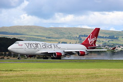 Kick Up a Fuss (G-VXLG) (Fraser Murdoch) Tags: virgin atlantic vir vs 071 071e 71e boeing queen skies sky 744 b744 b747 747 heavy gvxlg vxlg orlando mco glasgow international airport egpf gla holiday summer wet damp takeoff roll take off fraser murdoch aviation photography canon eos 650d scotland