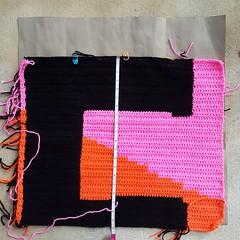 My template in action with Square 31 (crochetbug13) Tags: crochetbug crochet crocheted crocheting loveacrosstheusa olek raleigh northcarolina crochetsquares crochetpanels crochetinstallation