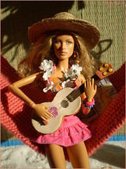Summer vibes (Mary (Mária)) Tags: barbie mattel barbielook beach summer vibes waikiki hawaii ukulele turtle fashion diorama scene model barbiestyle barbiebasic jamesbond drno honeyrider soraya marykorcek hammock magazine sand palm photoshoot photography dollphotography toys fahionistas