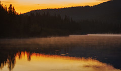 sunrise on the lake (patrickgkelly) Tags: panorama lake water morning sunrise reflections trees mist grandecache alberta canada