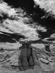 Bisti Badlands-14 (jamesclinich) Tags: bisti badlands danazin wilderness farmington newmexico nm rock desert sky clouds landscape handheld availablelight hoodoo olympus omd em10 mzuiko1240mmf28pro adobe photoshop topaz denoise detail blackwhite bweffects monochrome