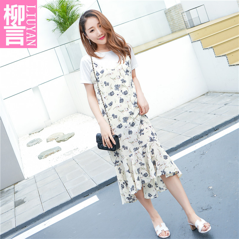 Chic small wind fresh suit dress two piece sling summer Chiffon floral dress female 2017 new summer