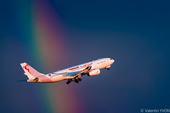 Fly the Rainbow (vy.photographe) Tags: rainbow arcenciel ciel couleurs couleur colors sky contrast aéronautique aeronautical avion aircraft airplane plane airbus a330 330 décollage takeoff light lumièredor goldenlight dusk evening soirée crépuscule orage grain squall storm orly ory lfpo tsifm tunisair