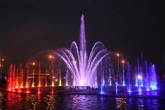 Warsaw, Poland (LeszekZadlo) Tags: color red violet fountain water light night black capital city polska poland polonia pologne polen warszawa varsovie warschau europe eu ue
