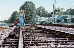 Follow me! (Tazmanic) Tags: germanshepherd railroad railroadtracks atlanta georgia lithonia