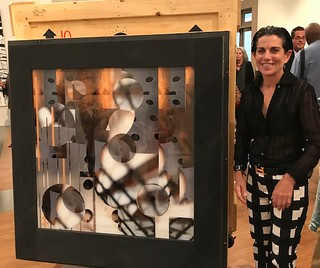 Maria Martinez-Cañas' performance while opening the container to discover her work was the highlight of the Preview of Between the Real and the Imagined by CINTAS Fellows at the Coral Gables Museum.
