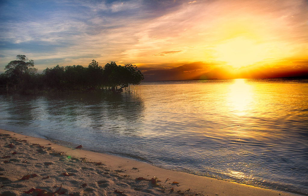 The sun sets over Palawan, the world's most beautiful Island