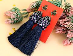 IMG_8052 (tanea.vladimirova) Tags: blue earrings woven handmade handmadejewelry tassels beautiful darkblue beads