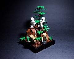 Takodana (RagingPhotography) Tags: lego star wars imperial galactic empire first order stormtrooper storm trooper resistance soldiers takodana rebellion rebel battlefront two video game blast blasters war battle fight conflict vignette build plastic toys toy minifigure minifig figure forest woodland trees ragingphotography