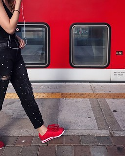 Red One Person Train - Vehicle Public Transportation Human Body Part Transportation One Woman Only Adult Lifestyles Adults Only Women Standing Low Section Real People People Day Only Women Outdoors ShotOnIphone IPhone7Plus Shotoniphone7plus מייאייפון7 Myd