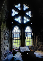 The Book (Ron Rothbart) Tags: abbey hdr iona scotland uk bible book chiaroscuro church dark flowers glass island stilllife window