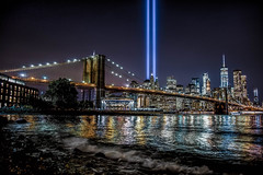 9/11 Tribute in Light (7 Million Views www.DelensMode.com) Tags: 911 nyc newyork weremember we remember tributeinlight tribute light attacks september 11 new york city skyline cityporn brooklyn bridge