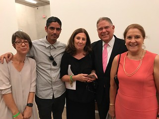 Artists Frances Trombly and Leyden Rodriguez Casanova with Alejandra von Hartz and Alberto and Susanna Ibarguen at PAMM for the opening of the Chapter Two, ontemporary Cuban art from the Jorge Perez collection.
