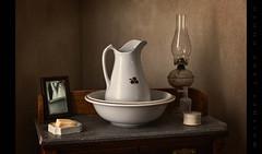 Washstand (Whitney Lake) Tags: explored 36 restoration stilllife missouri civilwar battleofathensstatehistoricsite historic lamp soap pitcher washstand
