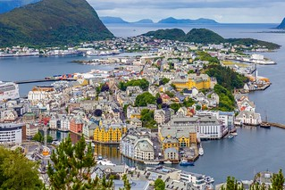 Panoramic view of Alesund from Mt. Aksla, Norway.
